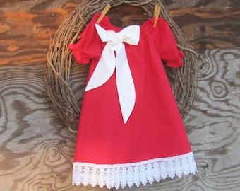 Girls Red Dress, Girls Lace Dress,  Red Valentine Dress, Monogrammed Christmas Dress