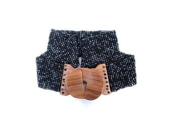 Vintage 70s Belt - Wide 70s Belt - Black Beaded Belt - 70s Wide Belt - Wide Black Belt - Waist Cincher - Wooden Buckle - XL - Boho - Disco