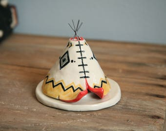 Unique, Handmade Incense Burner TeePee, Ceramic Yellow Coral Black, Aztec Pattern Design, Stoneware Clay, Unique Yogi Gift, Meditation Altar