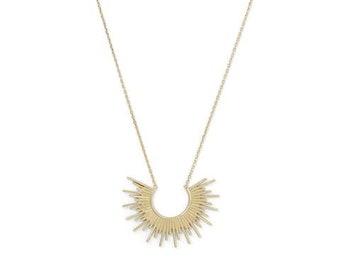 Sun Necklace | Sunburst Necklace | Iridescent Necklace | Gold Necklace | Ray Necklace | Geometric Necklace