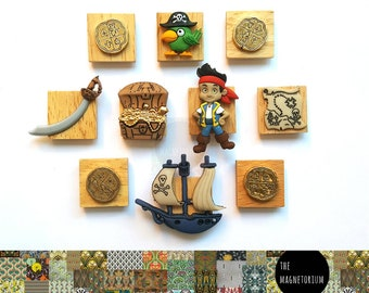 Pirate Magnets [Fridge Magnets, Fridge Magnet Sets, Refrigerator Magnets, Magnet Sets, Office Decor, Kitchen Decor, Magnetic Board]