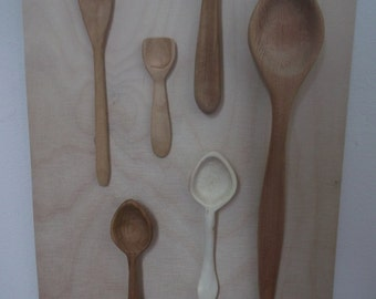 6 Hand Carved Welsh Wood Spoons in Willow, Cedar, Teak and Sycamore
