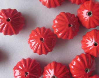 Red Fluted Acrylic Beads 14x8mm 10 Beads