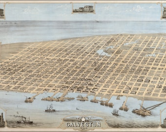 Poster, Many Sizes Available; Galveston, Texas In 1871. Bird'S Eye View Map