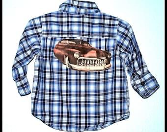 Boys Rockabilly Hot Rod Car Plaid Shirt....size 6-12 months