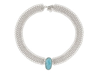 Sterling Silver Chainmaille Collar Necklace with Larimar- Handwoven Chain with Handset Natural Blue Stone- One of a Kind