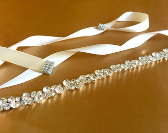 Crystal Bridal Sash | Rhinestone Sash Belt | Wedding Sash Belt