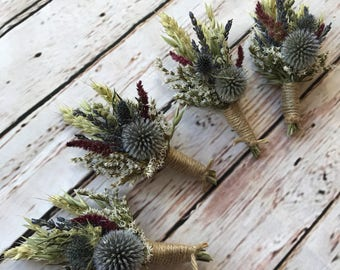 Beautiful Bespoke Wedding Buttonholes. Made from dried flowers and grasses for a rustic, vintage or country feel. Thistle, Tartan