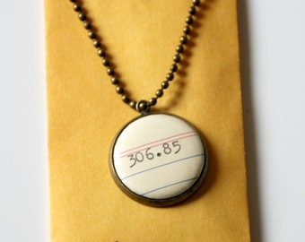 Dewey Decimal System NECKLACE, family, 306.85,  call number, library, gift