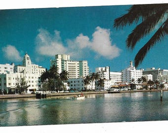 Vintage Florida Chrome Postcard Miami Beach Million Dollar Luxury Hotels As Seen Across Indian Creek UNUSED