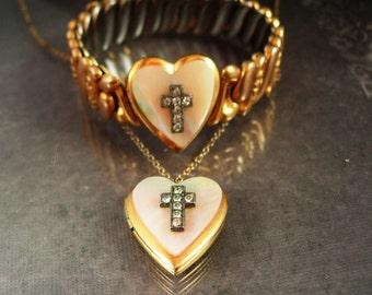 Deco Locket necklace Expansion bracelet religious rhinestone cross Vellure by Marvel estate jewelry