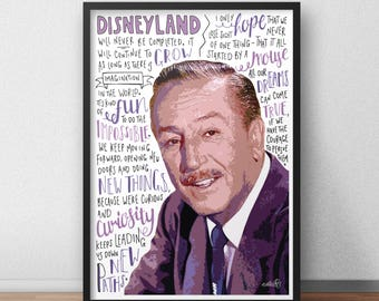 Walt Disney quote print / poster hand drawn type / typography