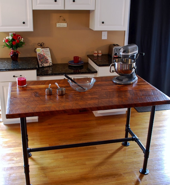 Kitchen Island Table Combination: Industrial Kitchen Island Industrial Pipe Table Kitchen Prep