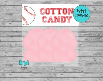 INSTANT DOWNLOAD - Baseball Cotton Candy Treat Bag Topper - Cotton Candy Treat Topper - Printable Digital File