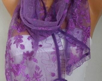 Purple Lace Scarf,Wedding Shawl,Women Shawl Scarf,Bridesmaid Gift,Cowl Scarf,Bridal scarf, Lace Mantilla,Church Lace Chapel Veil Mantilla