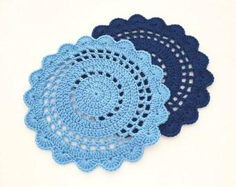 Crochet Placemat Pattern, Crochet Scallop Placemat, Crochet Round Placemat PDF Pattern 011