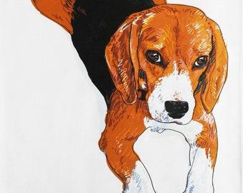 The Beagle Large Cotton Tea Towel