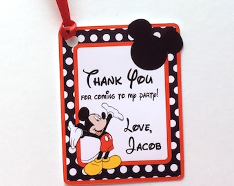Mickey 12 Thank You Party Favor Tags, Set of 12 Mickey Mouse Ears Personalized Happy Birthday Party Favors Thank You tags Party Supplies