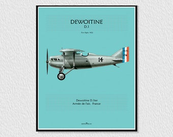 Poster, downloadable poster for decoration, instant descargar, wall decor printable, airplane poster, digital drawing aircraft DEWOITINE D. 1