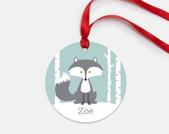 Personalized Christmas Ornament for Kids - Winter Fox - Kid-Friendly Personalized Ornament - Aluminum