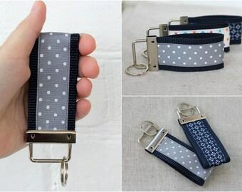 Mini Key Fob Dot Keychain Flower Polka Dot, Ribbon Key Chain Webbing Ribbon Keychain gift ideas for women Hostess Gift Womens gift