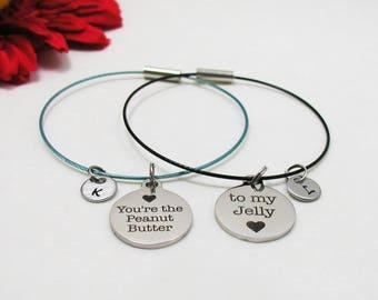 Best Friends Bracelet Set - Best Friends Bangle Set - You're The Peanut Butter To My Jelly Charm - Best Friends Jewelry - Custom Bracelet
