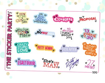 Romantic Comedy Movie Planner Stickers