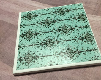 Teal ceramic tile coasters - set of 4
