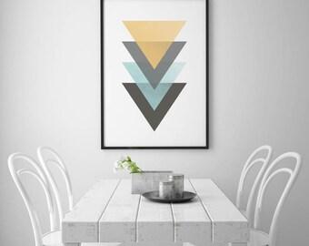 Art Deco Print, Triangle Wall Art, Geometric Print, Mustard Art, Blue Print, Colorful Poster, Geometric Decor, Retro Art, INSTANT DOWNLOAD