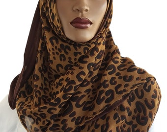 D'ble Scarf™ Duo Hijabs Chiffon Animal Print Black Brown Scarves Hijabi Style Designer Hijab Rectangle Hijab Lightweight Hijab Handmade