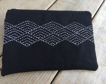 Sashiko on Black Linen Clutch, Purse, Zippered Bag