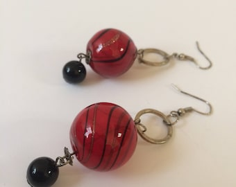 Hand Blown Glass Earrings, Red Glass Earrings, Glass Dangle Earrings, 1980's Glass Earrings, Red Dangle Earrings, Black Bead Earrings