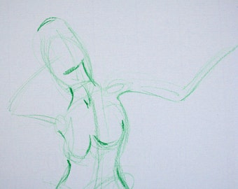 Nude in green - an original drawing