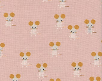 Cotton + Steel Sunshine, Little Friends in Pink, Pink Mouse Fabric, Pastel Pink Quilting Cotton, Baby Quilt Fabric, 4064-01