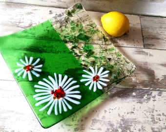 Large Fused Glass Daisy Flower Serving Dish Platter - Green Colour Block with Texture - Free UK Shipping