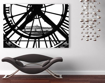 Paris Canvas Art, Large Canvas Wall Art, Orsay Museum Clock, Black and White Fine Art Photography, Paris Wall Decor