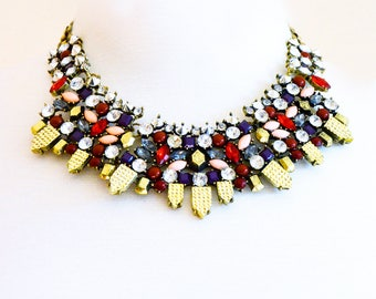 Statement necklace, Crystal necklace, Bridal necklace, Wedding necklace, Collar necklace - Queen