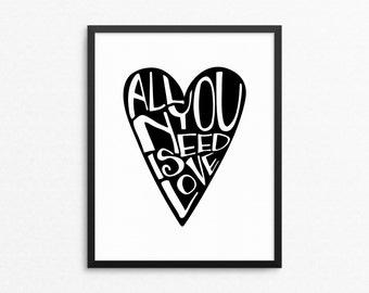 Home Art Wall Decor, All You Need Is Love, Typography Art, Heart, Scandinavian Decor, Love Poster