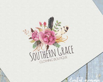 Premade Bouquet Boho Logo Design, Floral Boho Branding, Marketing