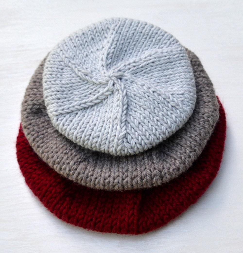 Beret Knitting Pattern. Modern Beret Knitting Design. Hat Knit