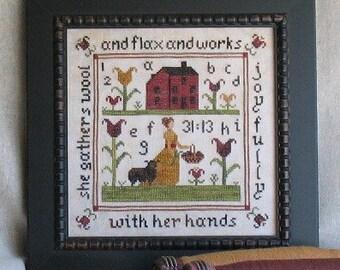 Primitive Sampler Cross Stitch PDF Pattern Proverbs 31:13