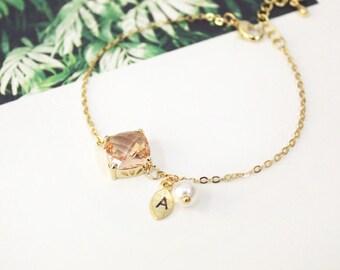 Champagne Stone Bracelet, Initial Bracelet,Personalized bracelet, peach stone,Bridesmaid Gift Bracelet, pearl, Bridesmaids Bracelet
