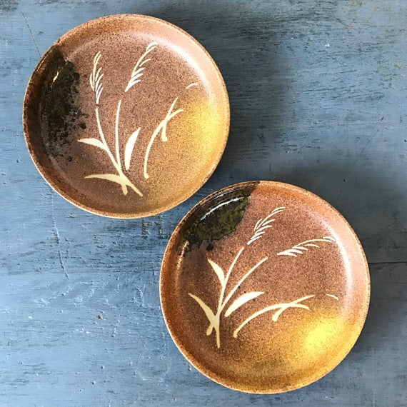 handmade studio pottery plates - wheatgrass ceramic dishes - incense dishes - decorative wall plates - Set of 2