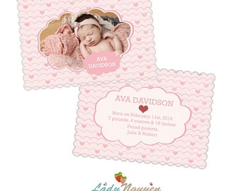 INSTANT DOWNLOAD 5x7 Valentine Birth Announcement Luxe Card Photoshop Template - CA406