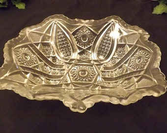 Vintage Mid Century Clear Pressed Glass Hobnail Serving Bowl