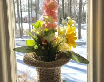 Crocheted Hanging Window Vase with Suction Cup hook