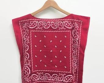 Bandana Shirt Red Cotton Bandana Crop Top Vintage Inspired Biker Nautical Boxy Loose Fit Summer Top Festival Womens Tee (S/M)