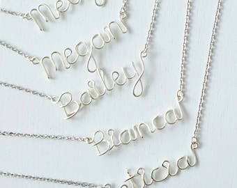 Bridesmaids Necklace, Silver Bridesmaids Necklaces, Name Necklace, Bridesmaids Gifts, Wedding Jewelry, Personalised Bridesmaids Gifts