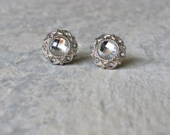 Crystal Silver Earrings, Crystal Earrings, Inexpensive Earrings, Inexpensive Jewelry, Silver Bridesmaid Earrings, Silver Costume Jewelry