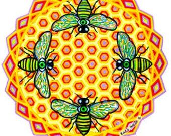Cosmic Circle, Bees See, Honey Hive, Bee Art, Window Cling, EcoFriendly, No-stick Sticker, Third Eye, Meditation, Light worker, Sun catcher